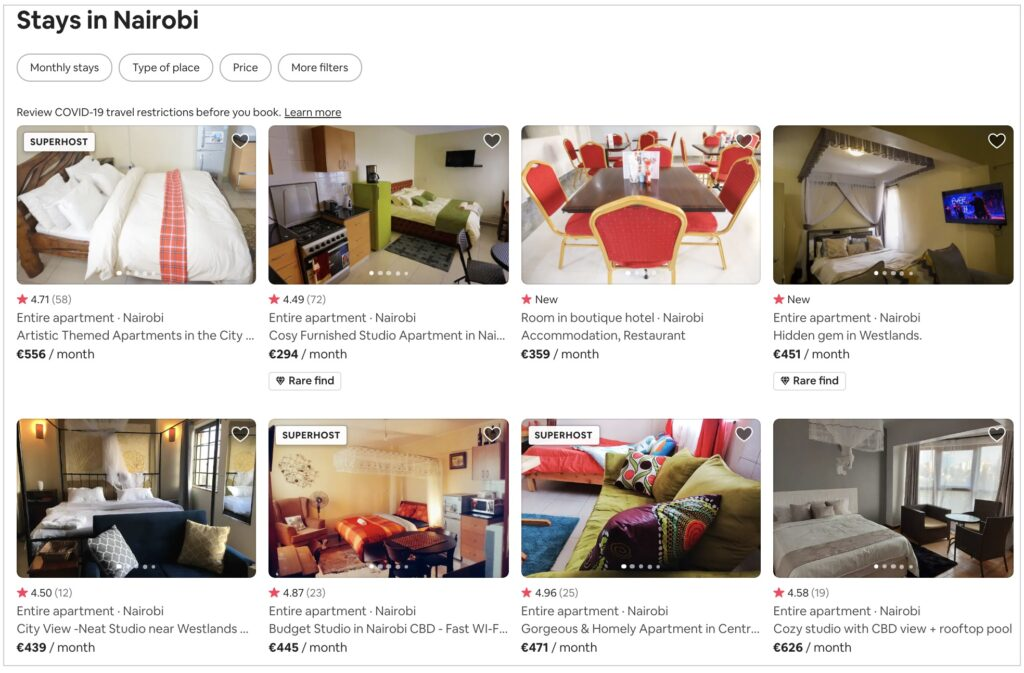 Airbnb apartments in Nairobi
