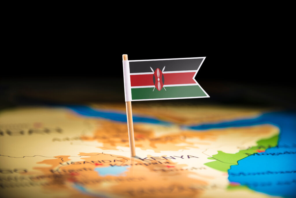 Kenyan Flag on Map